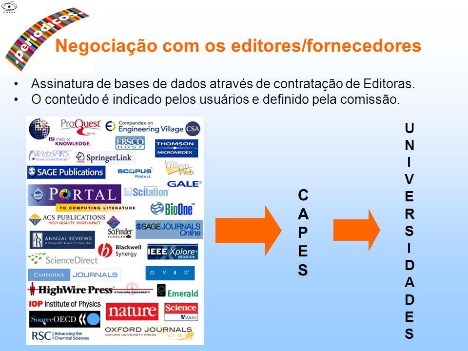 Negociação com os editores/fornecedores