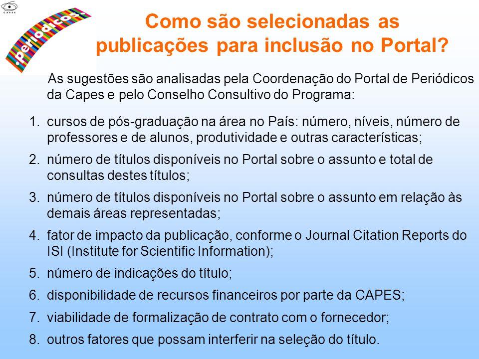 Como são selecionadas as publicações para inclusão no Portal