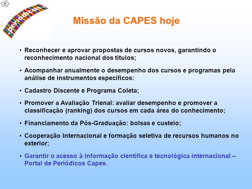 Missão da CAPES hoje Reconhecer e aprovar propostas de cursos novos, garantindo o reconhecimento nacional dos títulos;
