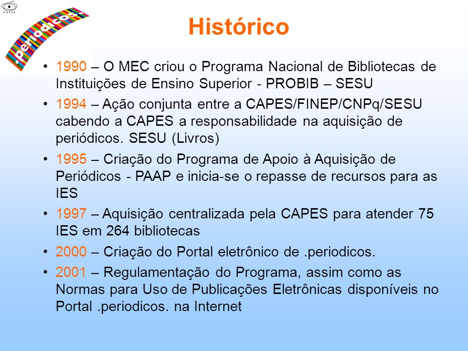 Histórico 1990 – O MEC criou o Programa Nacional de Bibliotecas de Instituições de Ensino Superior - PROBIB – SESU.