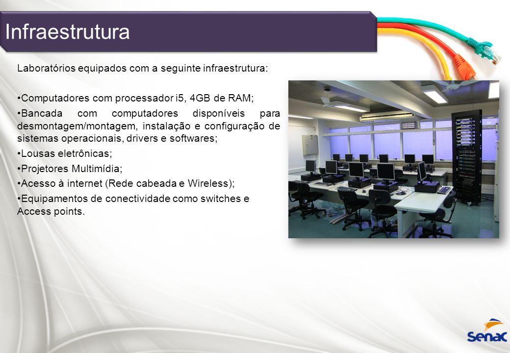 Infraestrutura Laboratórios equipados com a seguinte infraestrutura:
