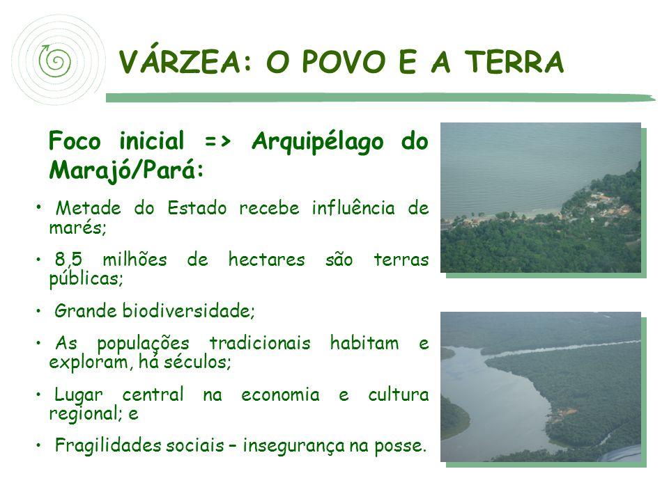 VÁRZEA: O POVO E A TERRA Foco inicial => Arquipélago do Marajó/Pará: Metade do Estado recebe influência de marés;
