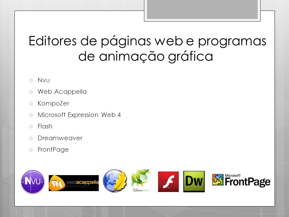 Editores de páginas web e programas de animação gráfica