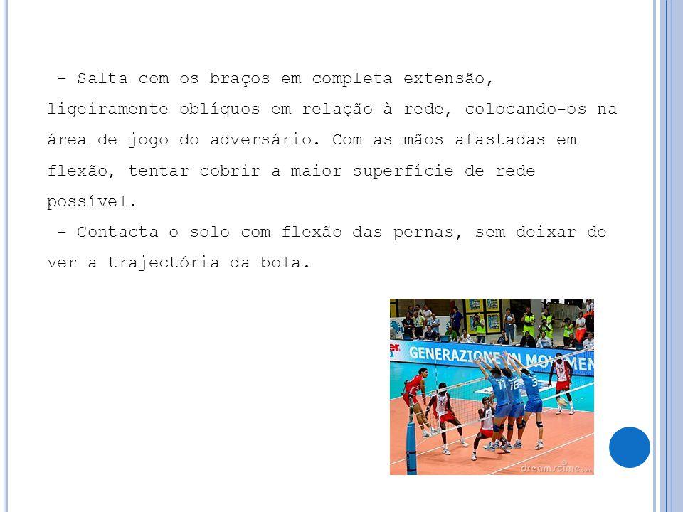 - Salta com os braços em completa extensão, ligeiramente oblíquos em relação à rede, colocando-os na área de jogo do adversário.