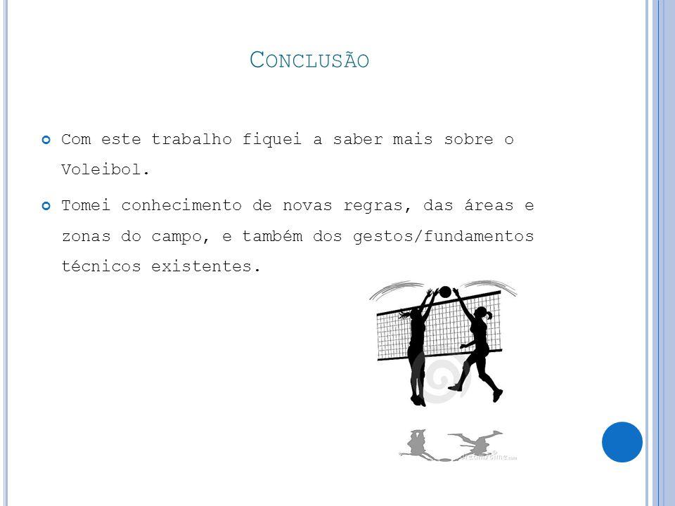 Conclusão Com este trabalho fiquei a saber mais sobre o Voleibol.