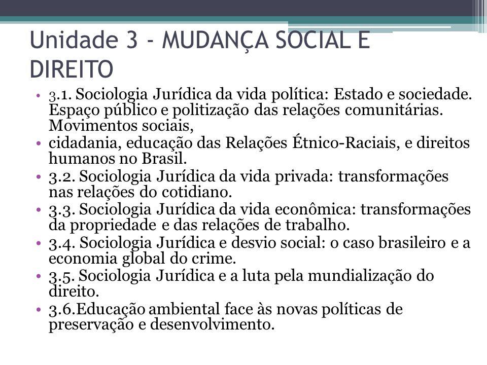 Unidade 3 - MUDANÇA SOCIAL E DIREITO
