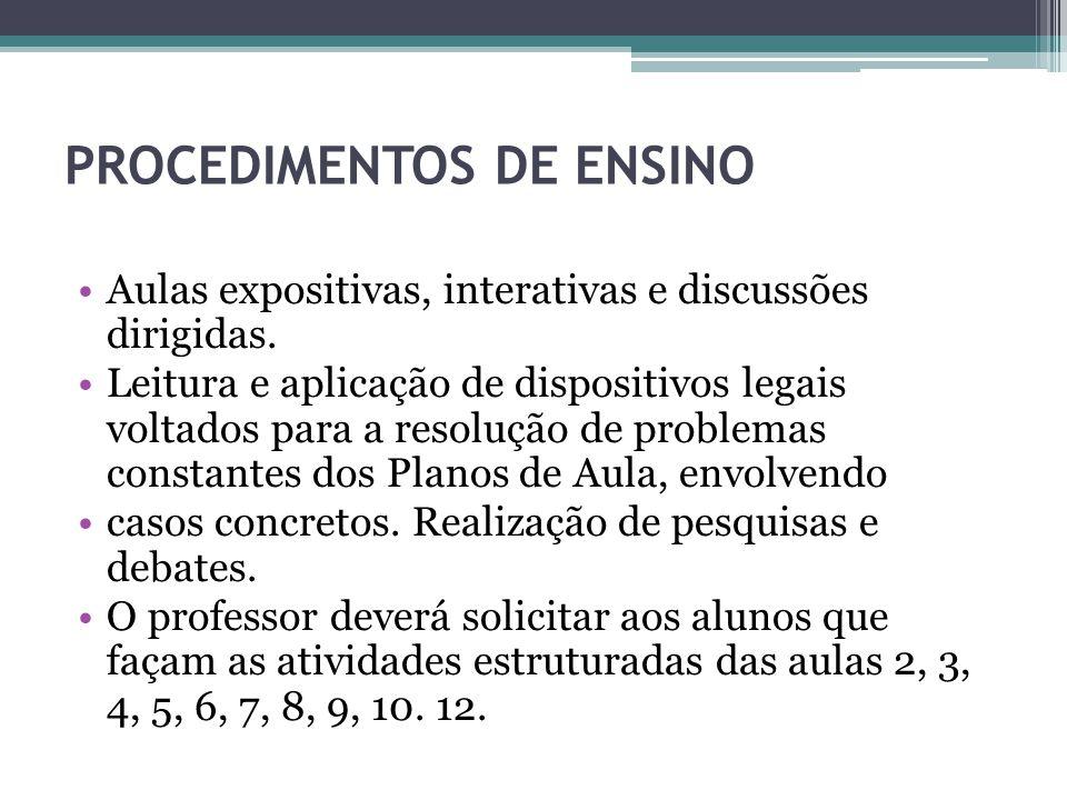 PROCEDIMENTOS DE ENSINO