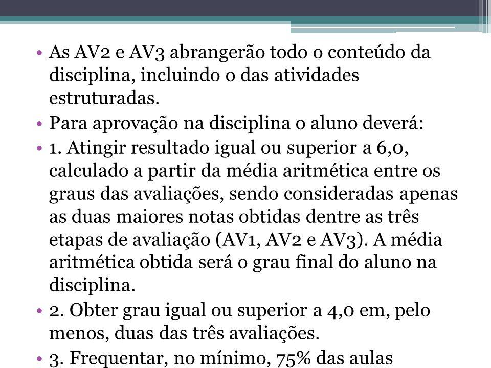 As AV2 e AV3 abrangerão todo o conteúdo da disciplina, incluindo o das atividades estruturadas.