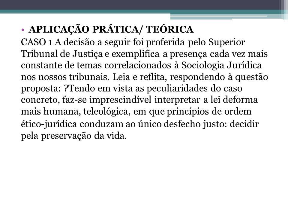 APLICAÇÃO PRÁTICA/ TEÓRICA