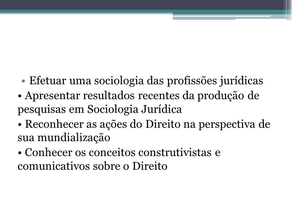 Efetuar uma sociologia das profissões jurídicas
