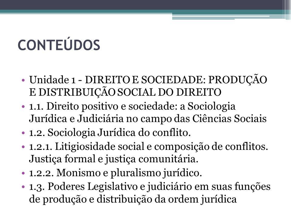 CONTEÚDOS Unidade 1 - DIREITO E SOCIEDADE: PRODUÇÃO E DISTRIBUIÇÃO SOCIAL DO DIREITO.