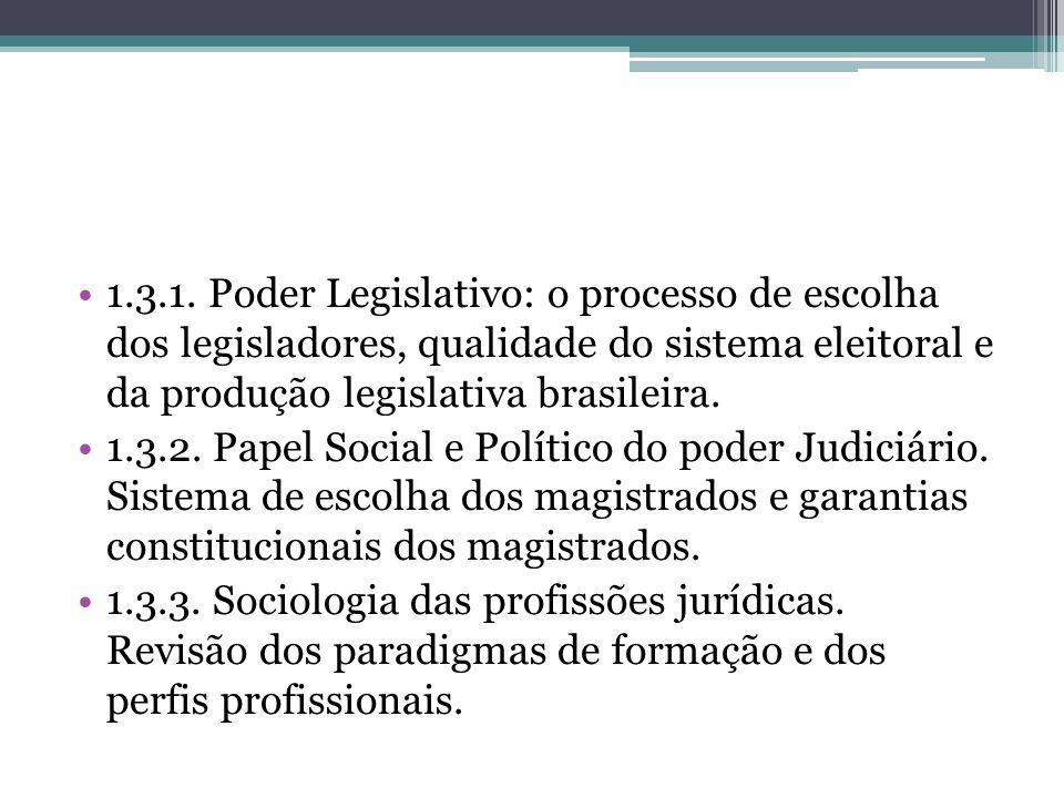 1.3.1. Poder Legislativo: o processo de escolha dos legisladores, qualidade do sistema eleitoral e da produção legislativa brasileira.