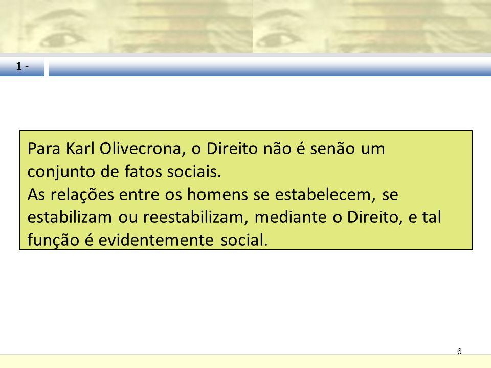 1 - Para Karl Olivecrona, o Direito não é senão um conjunto de fatos sociais.