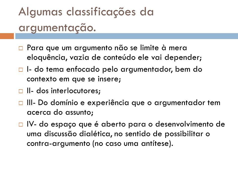 Algumas classificações da argumentação.