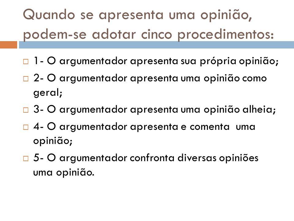Quando se apresenta uma opinião, podem-se adotar cinco procedimentos: