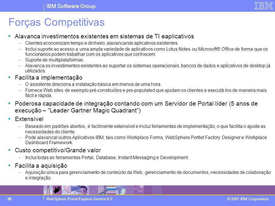 Forças Competitivas Alavanca investimentos existentes em sistemas de TI eaplicativos.