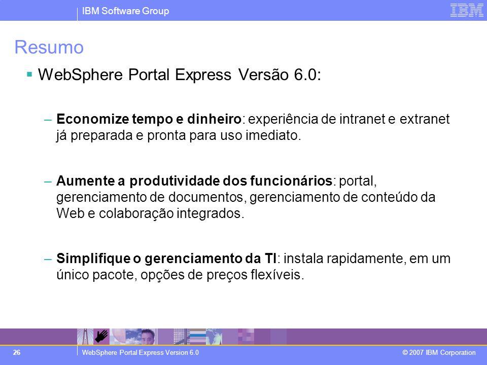 Resumo WebSphere Portal Express Versão 6.0: