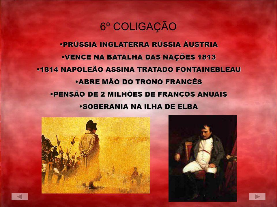 6º COLIGAÇÃO PRÚSSIA INGLATERRA RÚSSIA ÁUSTRIA