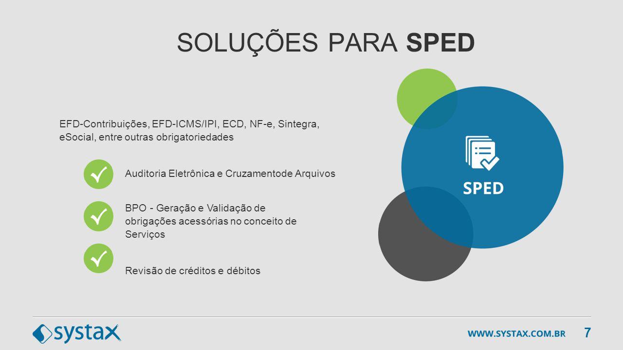 SOLUÇÕES PARA SPED EFD-Contribuições, EFD-ICMS/IPI, ECD, NF-e, Sintegra, eSocial, entre outras obrigatoriedades.
