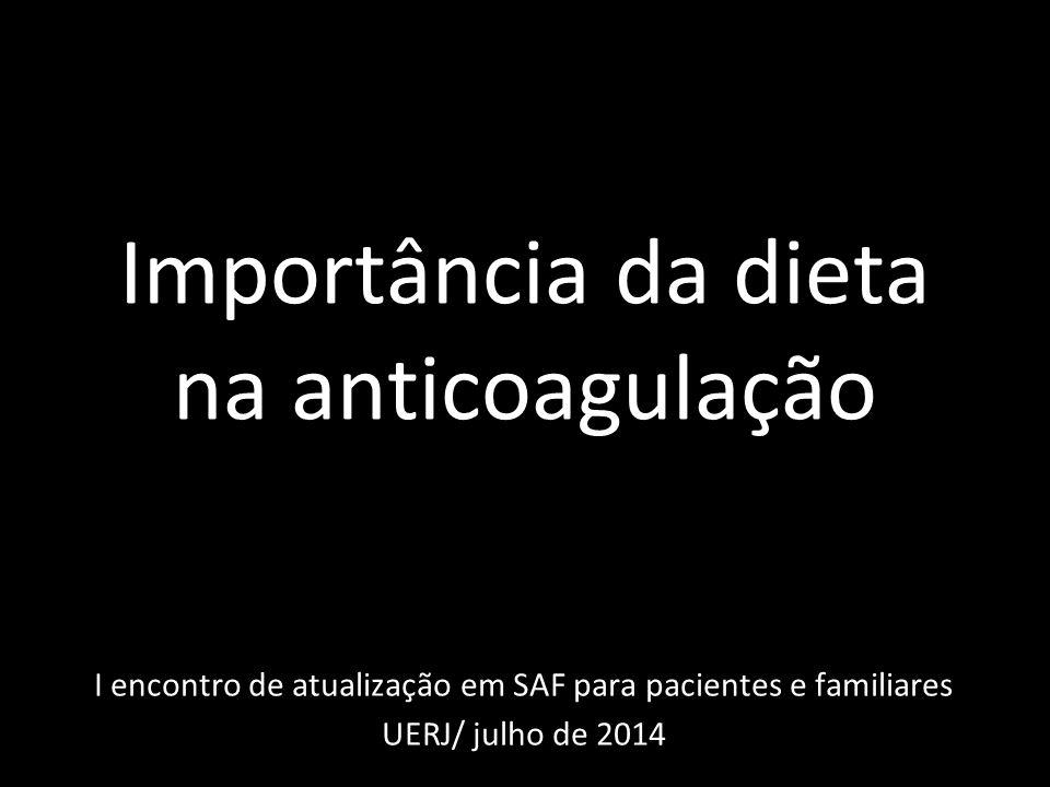 Importância da dieta na anticoagulação