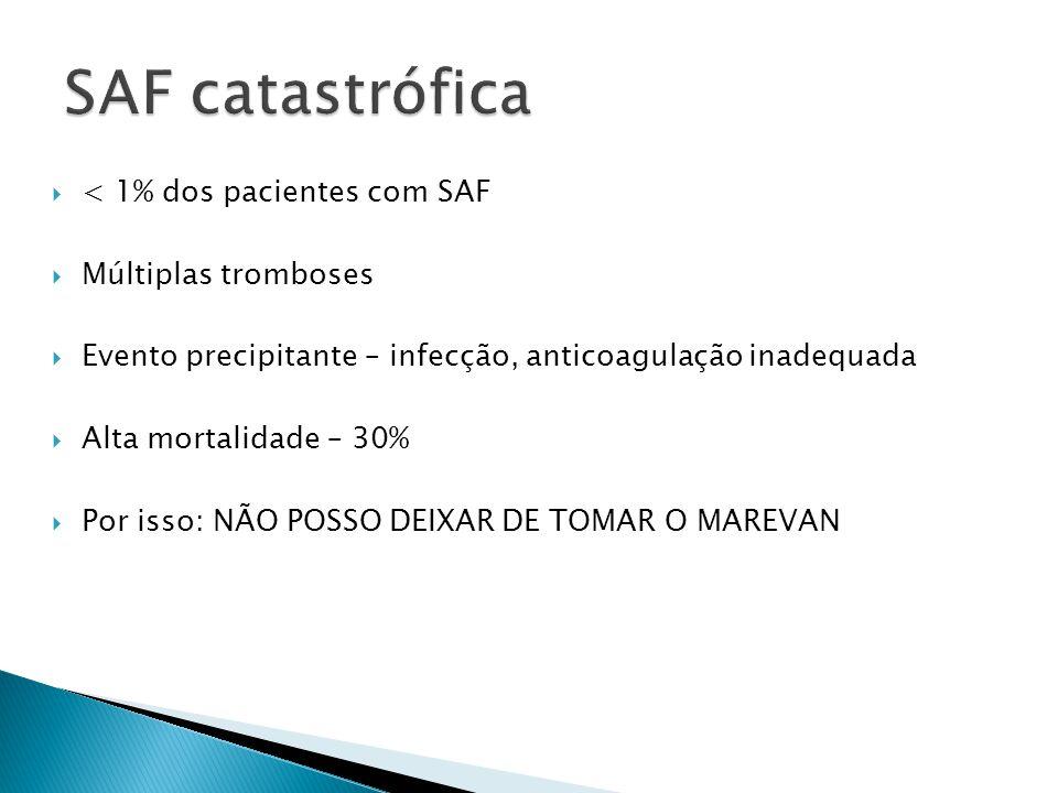 SAF catastrófica < 1% dos pacientes com SAF Múltiplas tromboses