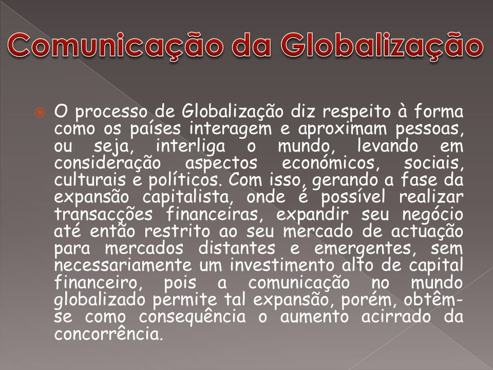 Comunicação da Globalização