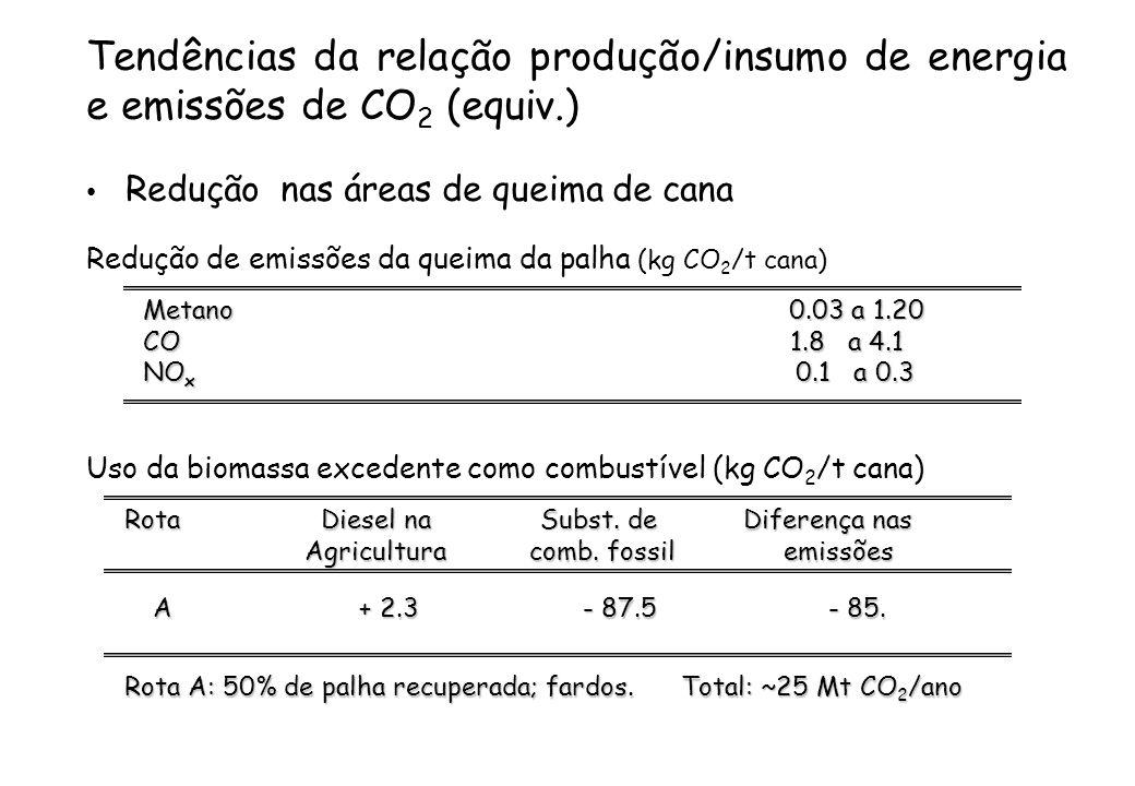Tendências da relação produção/insumo de energia e emissões de CO2 (equiv.)