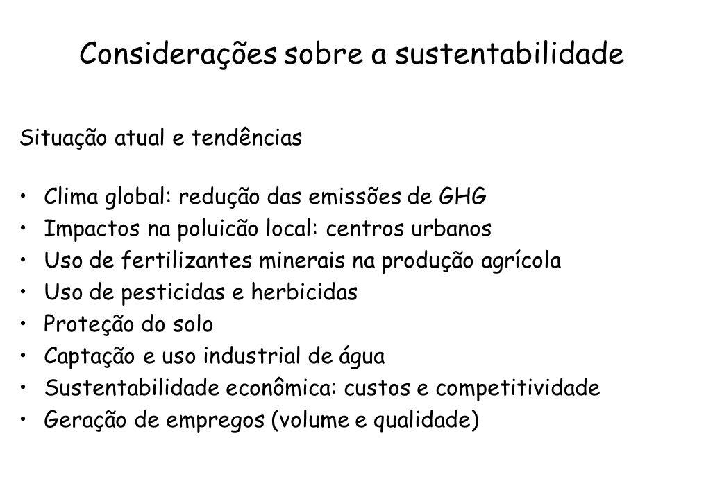 Considerações sobre a sustentabilidade