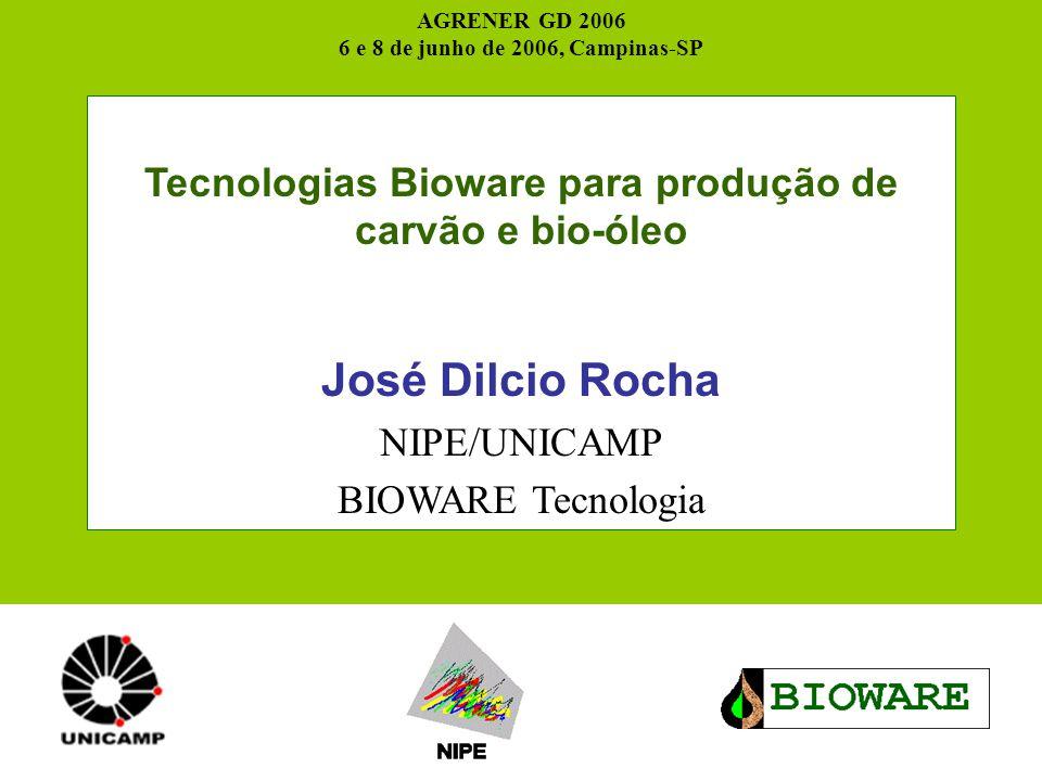 AGRENER GD 2006 6 e 8 de junho de 2006, Campinas-SP. Tecnologias Bioware para produção de carvão e bio-óleo.