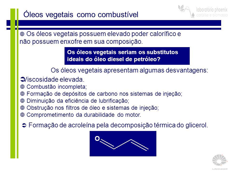 Óleos vegetais como combustível