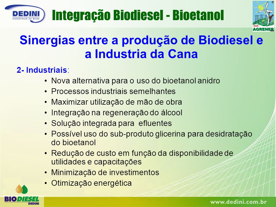 Sinergias entre a produção de Biodiesel e