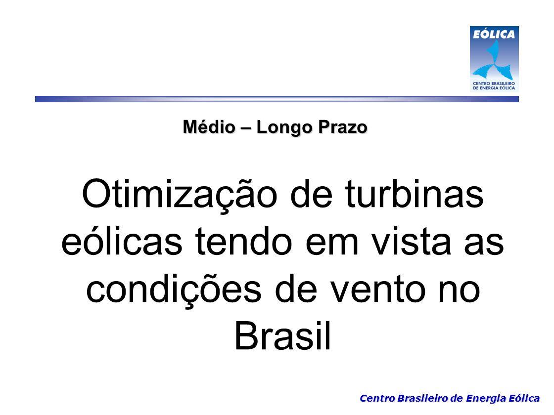 Médio – Longo Prazo Otimização de turbinas eólicas tendo em vista as condições de vento no Brasil