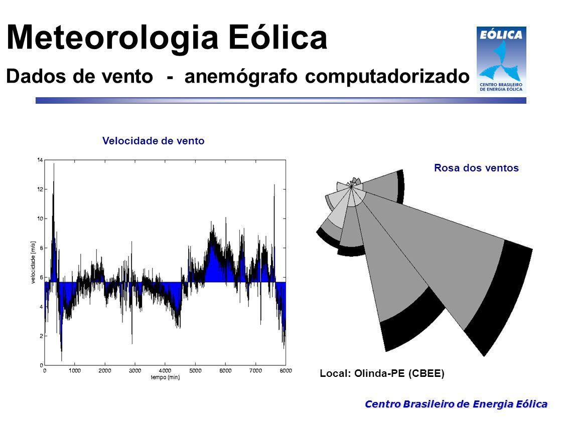 Meteorologia Eólica Dados de vento - anemógrafo computadorizado
