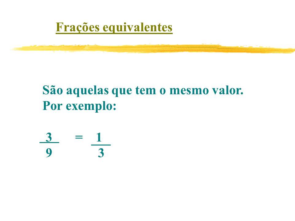 Frações equivalentes São aquelas que tem o mesmo valor. Por exemplo: 3 = 1. 9 3.