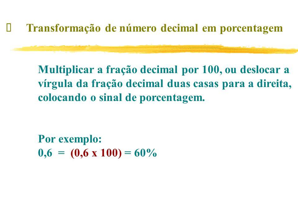 ü Transformação de número decimal em porcentagem