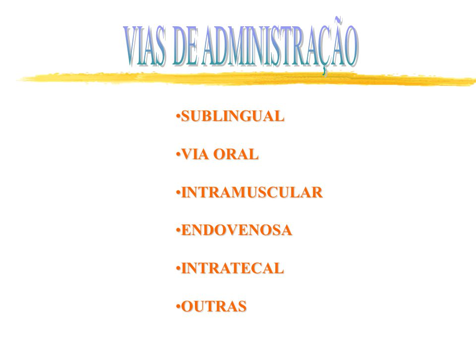 VIAS DE ADMINISTRAÇÃO SUBLINGUAL VIA ORAL INTRAMUSCULAR ENDOVENOSA