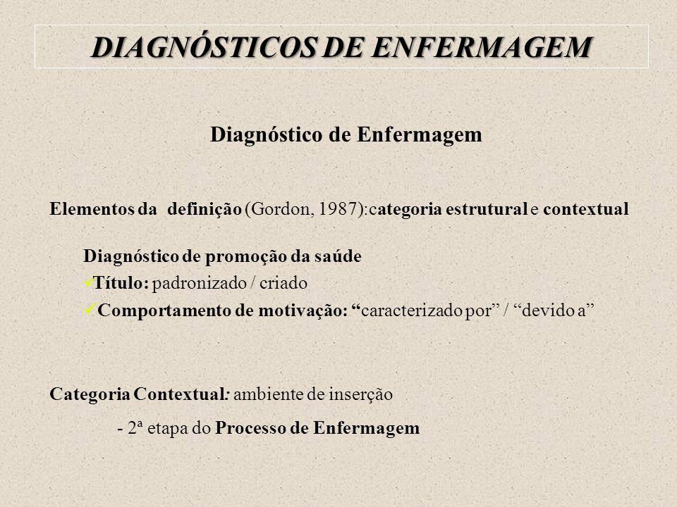 DIAGNÓSTICOS DE ENFERMAGEM Diagnóstico de Enfermagem