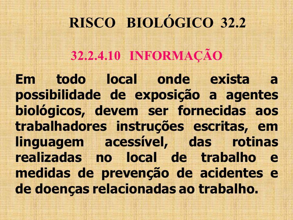 RISCO BIOLÓGICO 32.2 32.2.4.10 INFORMAÇÃO
