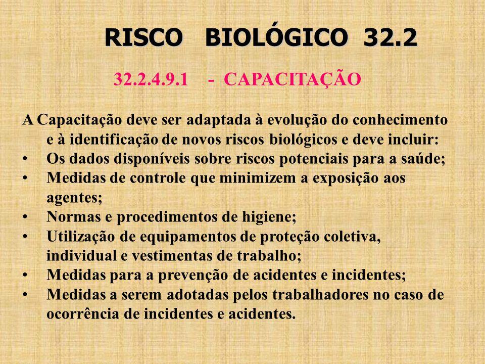 RISCO BIOLÓGICO 32.2 32.2.4.9.1 - CAPACITAÇÃO