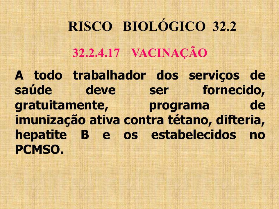 RISCO BIOLÓGICO 32.2 32.2.4.17 VACINAÇÃO