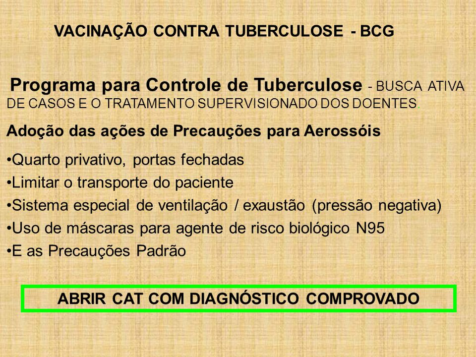 VACINAÇÃO CONTRA TUBERCULOSE - BCG