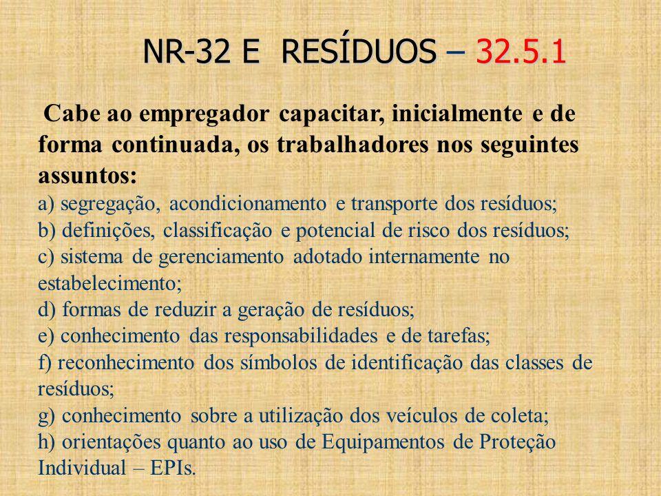 NR-32 E RESÍDUOS – 32.5.1 Cabe ao empregador capacitar, inicialmente e de forma continuada, os trabalhadores nos seguintes assuntos:
