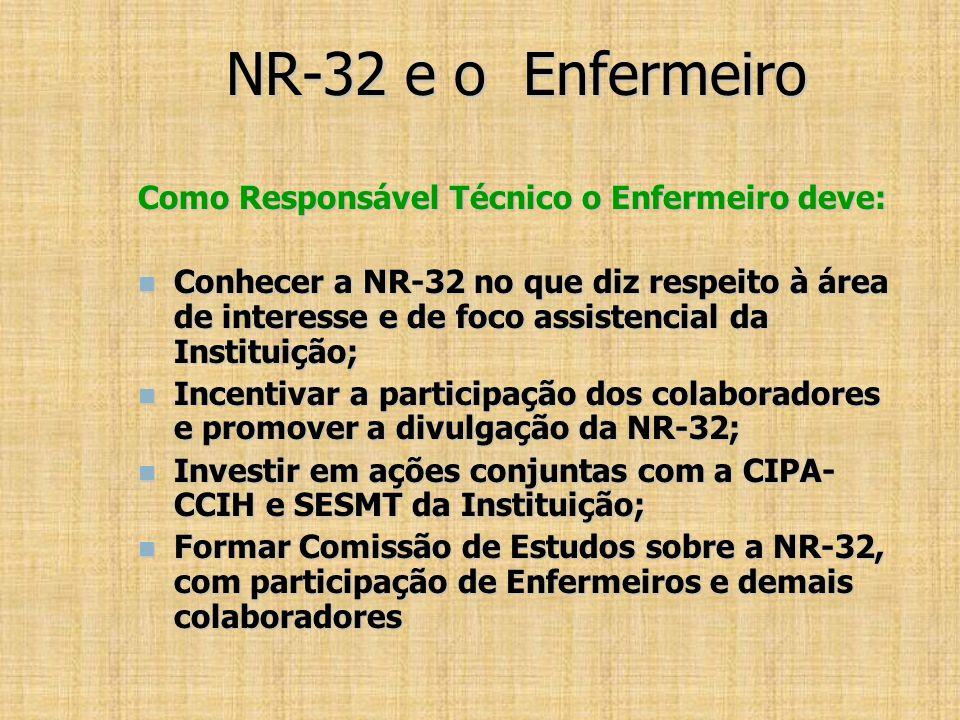 NR-32 e o Enfermeiro Como Responsável Técnico o Enfermeiro deve:
