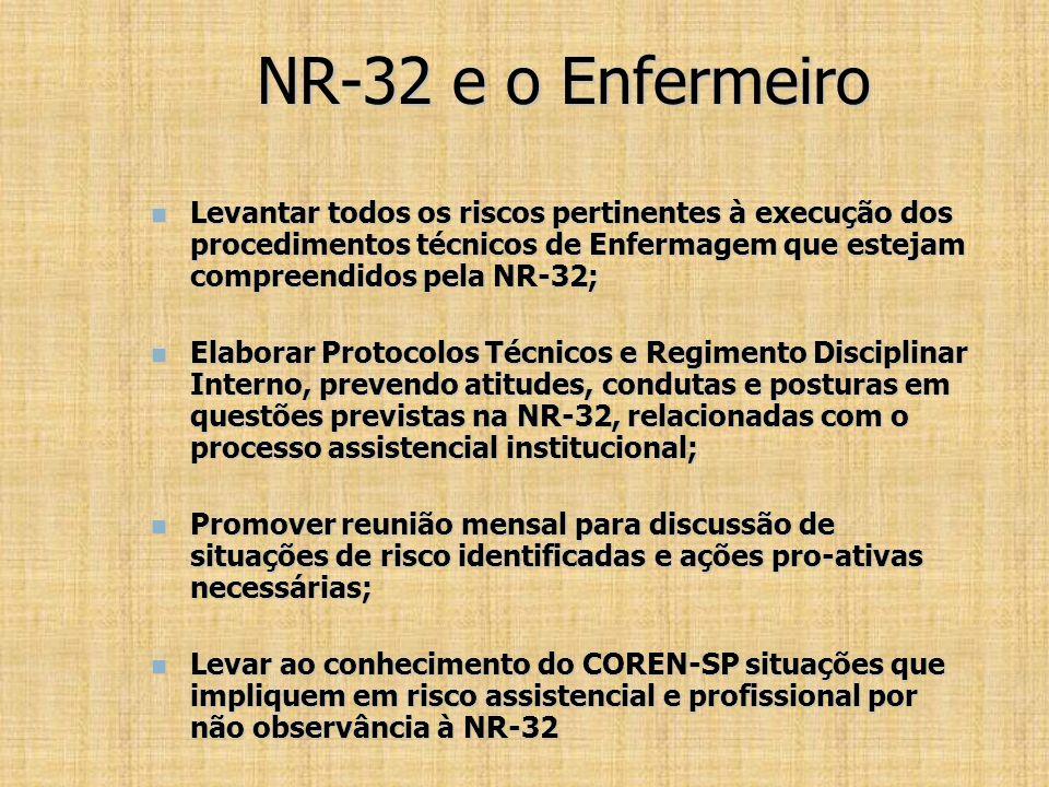 NR-32 e o Enfermeiro Levantar todos os riscos pertinentes à execução dos procedimentos técnicos de Enfermagem que estejam compreendidos pela NR-32;