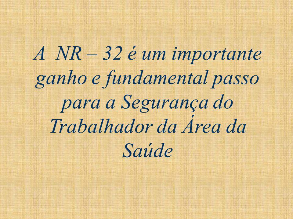 A NR – 32 é um importante ganho e fundamental passo para a Segurança do Trabalhador da Área da Saúde