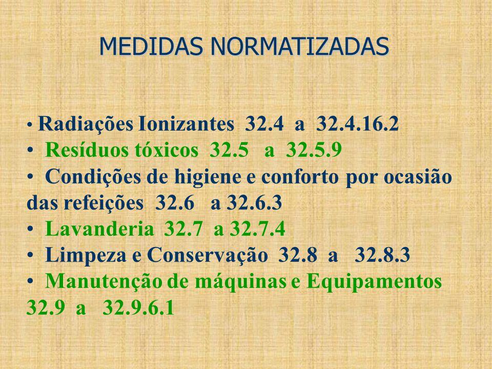 MEDIDAS NORMATIZADAS Resíduos tóxicos 32.5 a 32.5.9