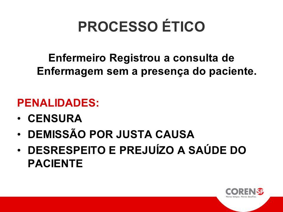 PROCESSO ÉTICO Enfermeiro Registrou a consulta de Enfermagem sem a presença do paciente. PENALIDADES: