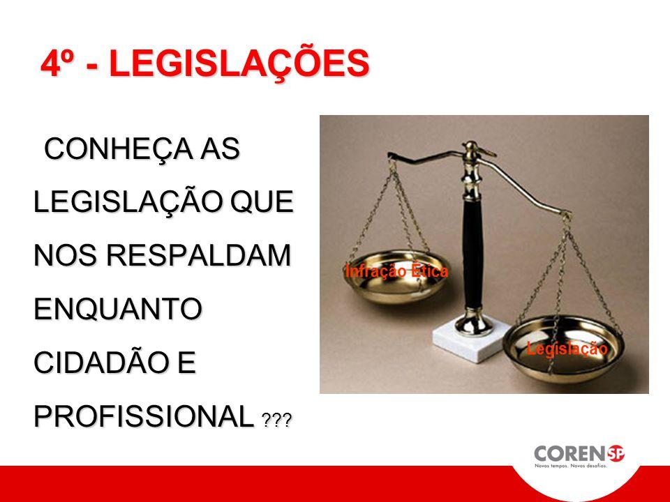 4º - LEGISLAÇÕES CONHEÇA AS LEGISLAÇÃO QUE NOS RESPALDAM ENQUANTO CIDADÃO E PROFISSIONAL