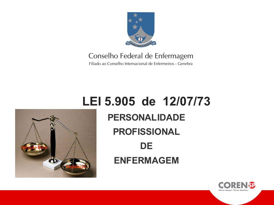 LEI 5.905 de 12/07/73 PERSONALIDADE PROFISSIONAL DE ENFERMAGEM