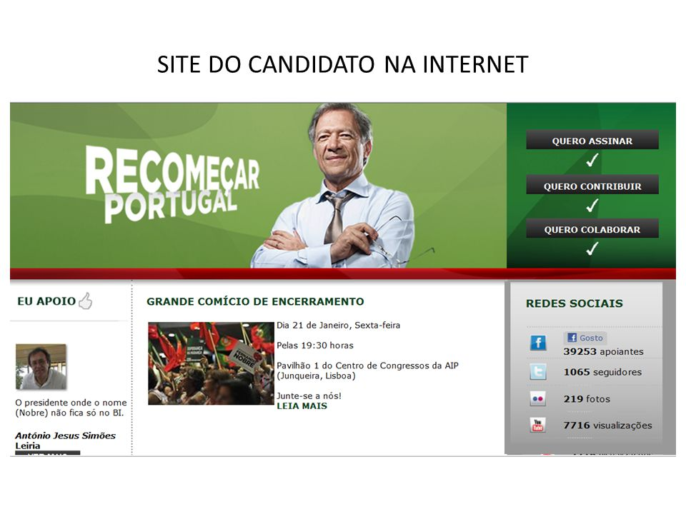 SITE DO CANDIDATO NA INTERNET
